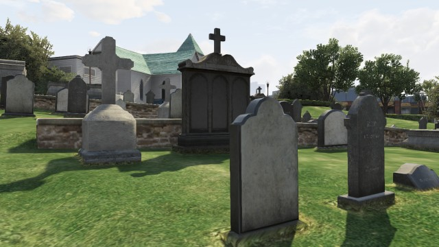 An open grave (which has a collectible pistol in it)