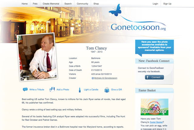 The Gone Too Soon page for US Author Tom Clancy.