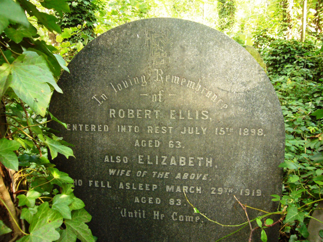 Grave of Robert and Elizabeth Ellis, Abney Park Cemetery