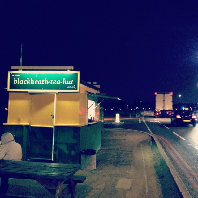 The Blackheath Tea Hut - open 24 hours a day on the windiest part of the heath. Proud purveyors of the 'animal burger'.