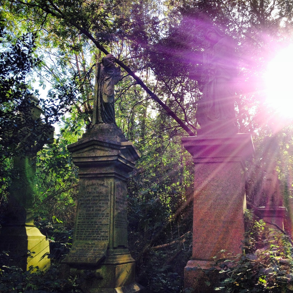 Gravestones and sunlight through the trees - and no hint of a city beyond it