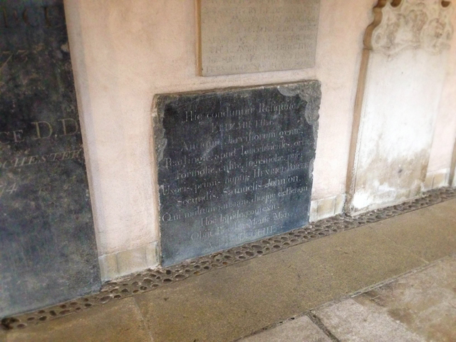 The slab dedicated to Johnson's wife, which Bryceson would have probably stood on.