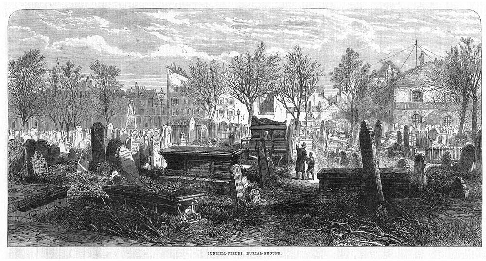 Bunhill Fields depicted in the Illustrated London News, 1866.