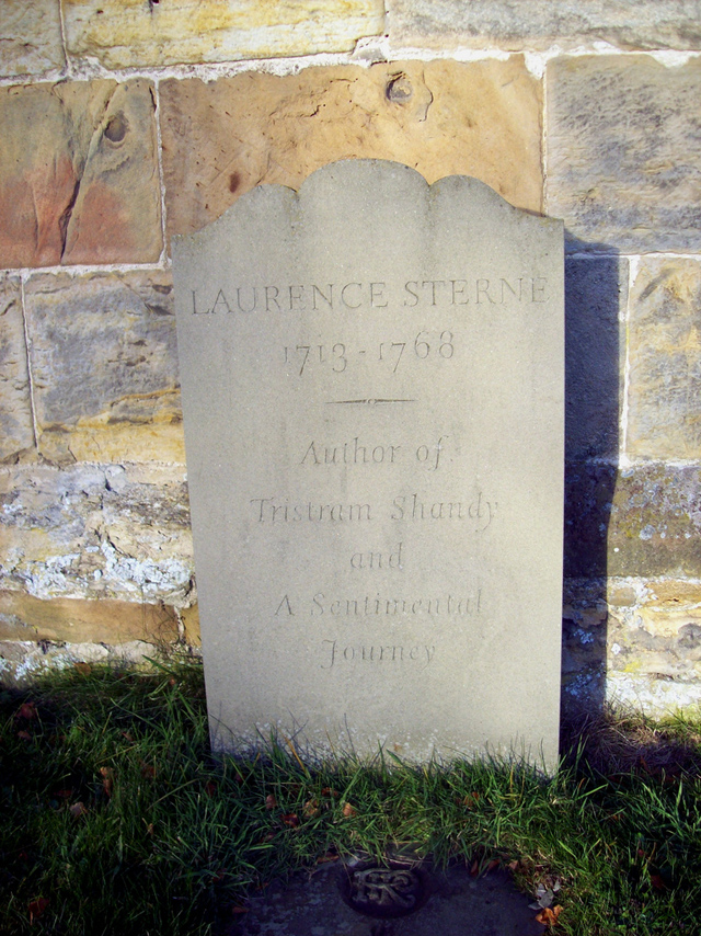His new grave in his home parish of Coxwold.