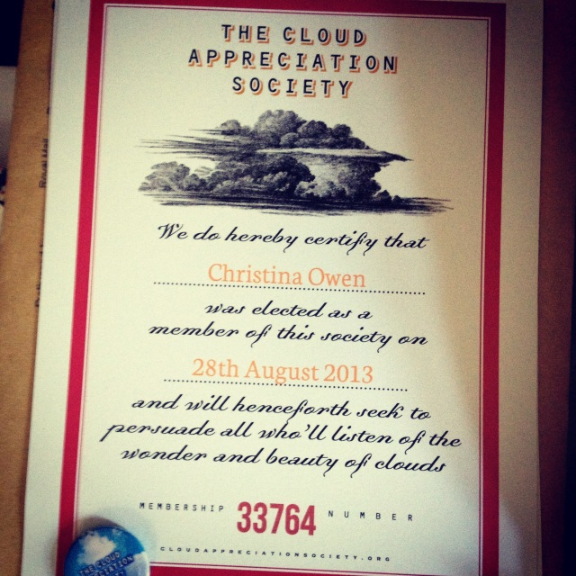 My Cloud Appreciation Society Certificate