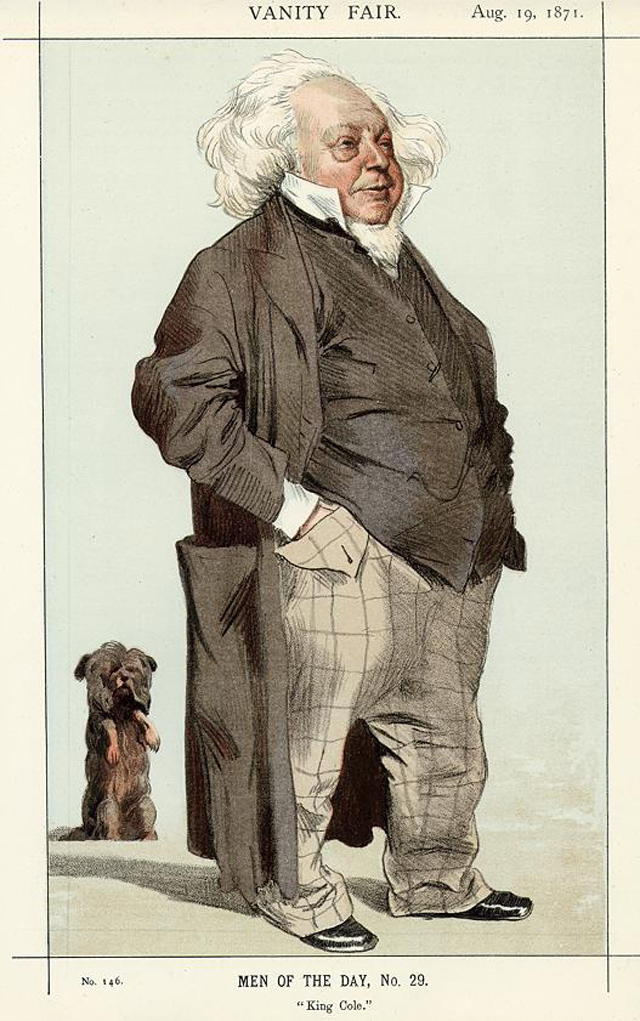 Cole as he was caricatured in Vanity Fair 1871, alongside Jim. His small stature compared to his dog is clear to see, as was his renowned wild hair and beard, baggy trousers and bulging waistcoat.
