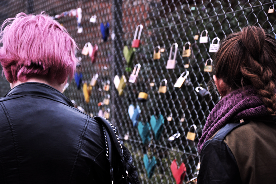 A fence full of hearts and lovelocks next to Shoreditch High Street station in September 2012