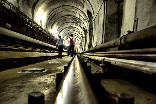Brunel's Tunnel last year, when it was open to walk to the public die to engineering works. © Nick Richards, 2014.