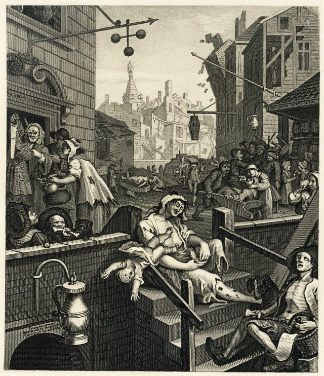 "William Hogarth, ""Gin Lane"", 1750 (image from Wikimedia Commons)"