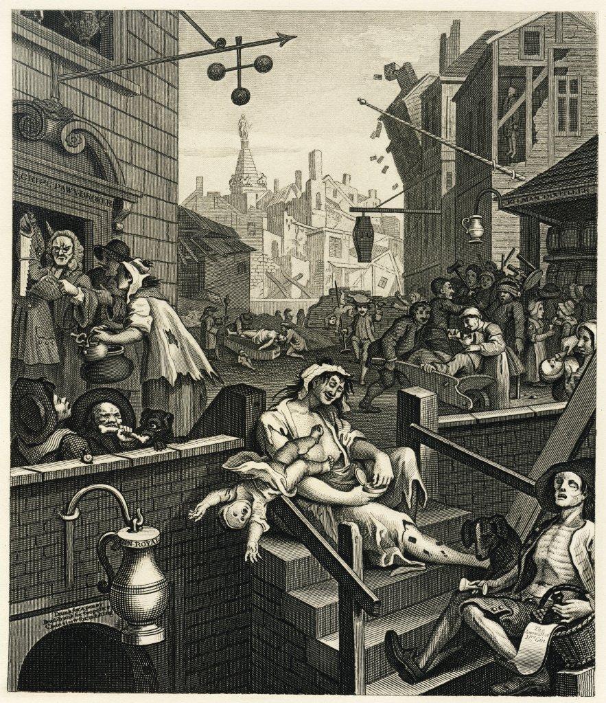 "William Hogarth, ""Gin Lane"", 1750 (image from Wikimedia Commons)"