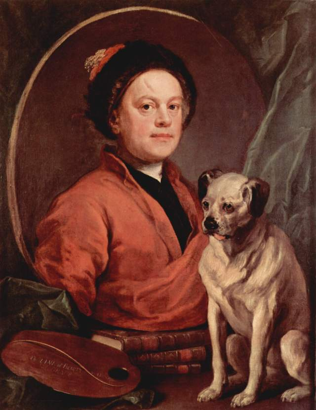 "William Hogarth, ""The Painter and his Pug"", 1745 (image from Wikimedia Commons)"