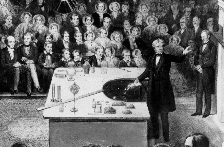 From a painting depicting a lecture given at the Royal Institution in 1856