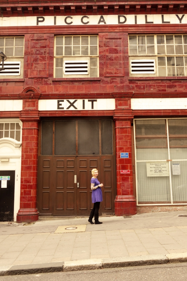 Here I am outside Aldwych station, formally of the Piccadilly Line until it's closure in 1994.